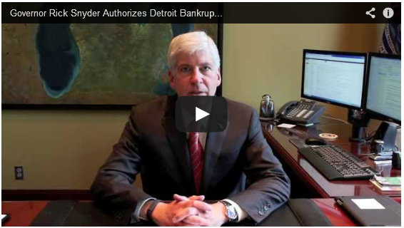 Governor authorizes Detroit bankruptcy filing for $18 billion debt and unfunded liabilities