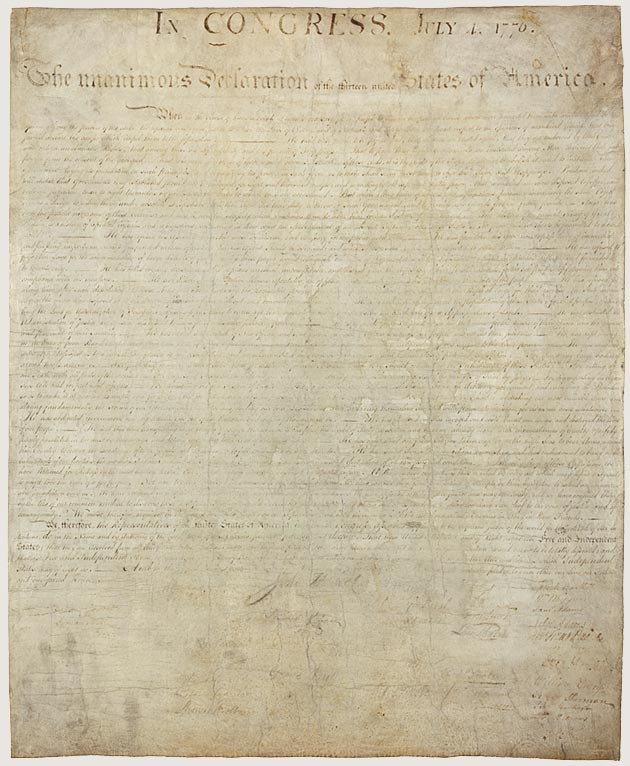 The unanimous Declaration of the thirteen united States of America,  July 4th, 1776