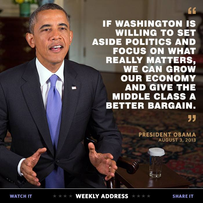 """President Obama's Weekly Address: """"Securing a Better Bargain for the Middle Class"""""""
