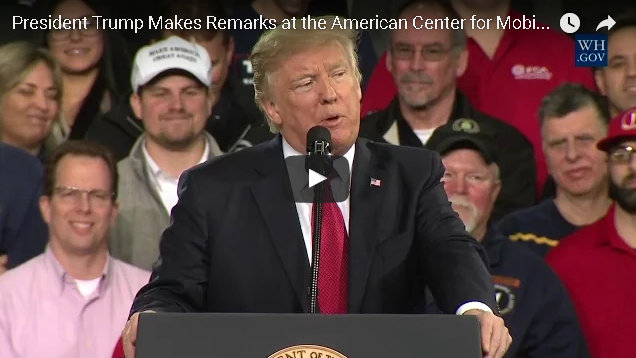 President Trump's Speech Today At American Center for Mobility
