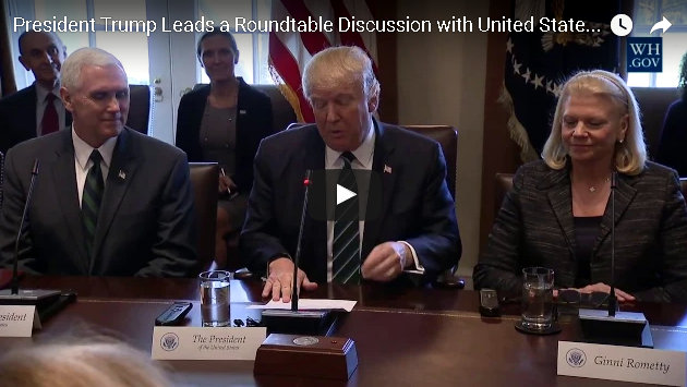 President Trump Lead Roundtable Discussion on Vocational Training with United States and German Business Leaders