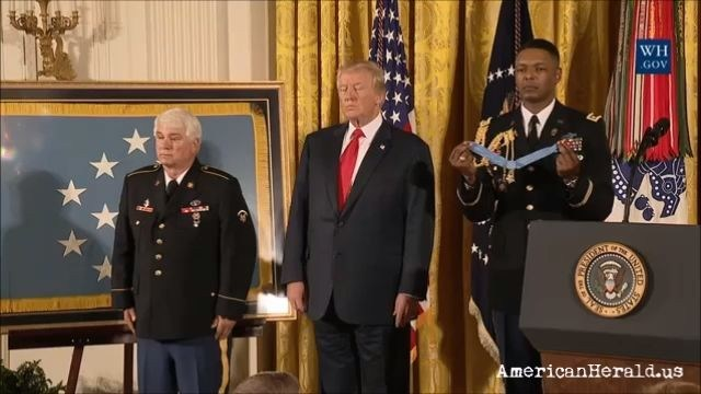 President Trump at Presentation of Medal of Honor to Specialist Five James C. McCloughan, U.S. Army