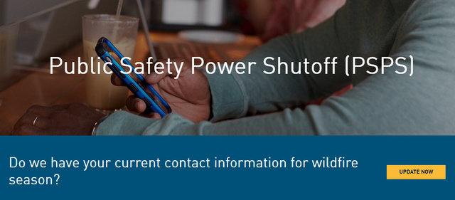 PG&E Encourages Customers to Update Their Contact Information, So They Can be Prepared for Public Safety Power Shutoffs
