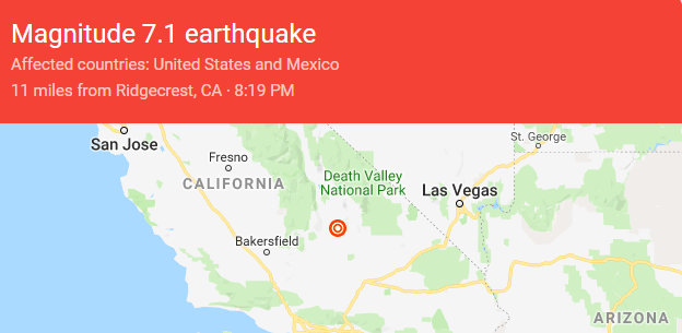 7.1 Magnitude Quake Hits Ridgecrest Area.  More Damage Reported From This One