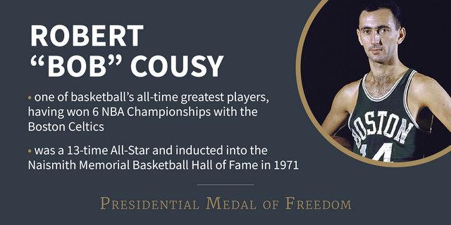 """Robert Joseph """"Bob"""" Cousy Awarded Presidential Medal of Freedom"""